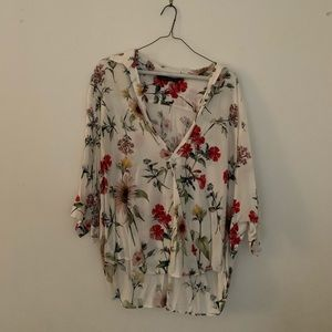 Zara floral top with 3/4 sleeves